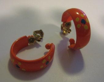 SALE ~Vintage Orange Enamel Flower Hoop Earrings - Clip Style - Tangerine - Yellow - Blue - Retro Accessories