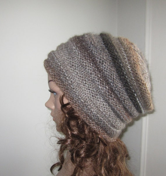Hand Knit Woodland Tones Beanie - Soft Hat - Womens Warm Winter Hat in Brown and Gray - Winter Accessories - Winter Fashion