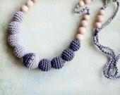 Geometric  Grey & grey  nursing necklace - teething necklace