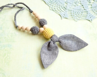 Fabric nursing necklace - grey linen bow