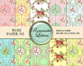 Floral Digital Scrapbook Paper Pack rose Shabby Chic rose flowers background printable doll house wallpaper printable decoupage paper Shabby