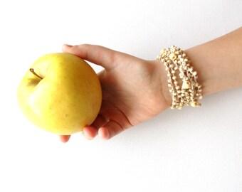 Crochet Bracelet - Boho Bracelet -Beaded Bracelet - Linen Bracelet - Crochet Necklace