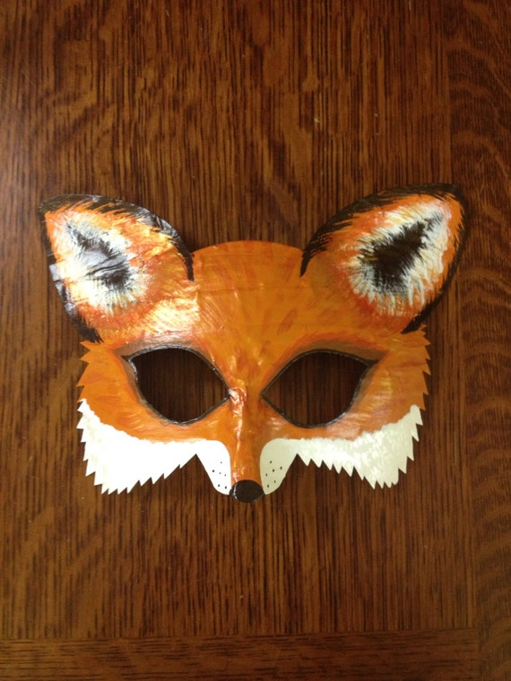 Fox mask fox costume mr and mrs fox arctic fox mask for Fantastic mr fox mask template