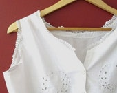 Early 1900s Restored Antique Edwardian White Work Corset Cover or Camisole