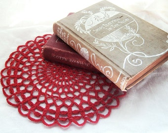 "Red Round Doily - Scalloped Trellis - 7.5"", Egyptian Cotton - Lace Crochet, Holiday Home Decor, Hostess Housewarming Gift"