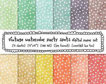 pastel dots digital paper set, spring easter spots polka dot photography backgrounds, baby shower, birthday, watercolor design 442