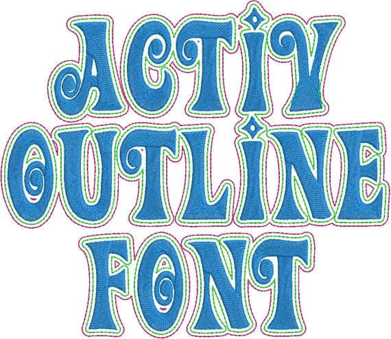 Activ Outline Machine Embroidery Font