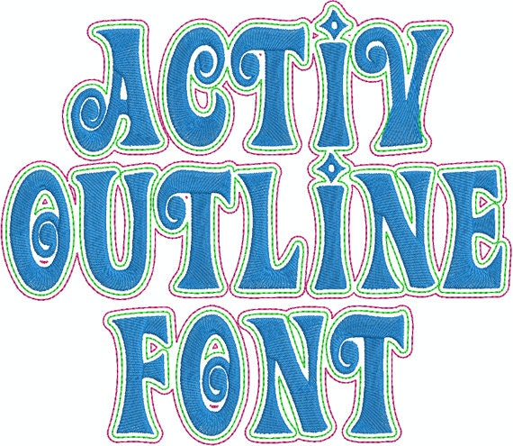 Activ outline machine embroidery font by sewnsewsa on etsy