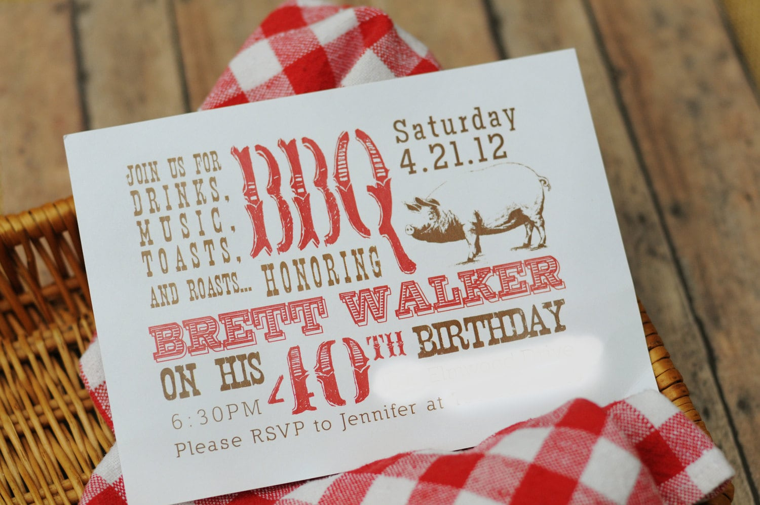 items similar to bbq 40th surprise party printable invitation toasts roasts drinks music pork