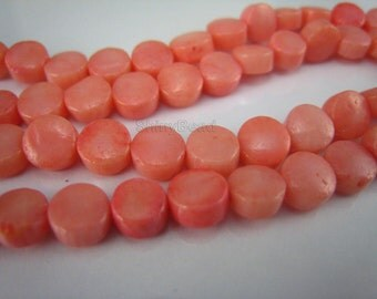 pink coral coin bead 6mm 15 inches strand