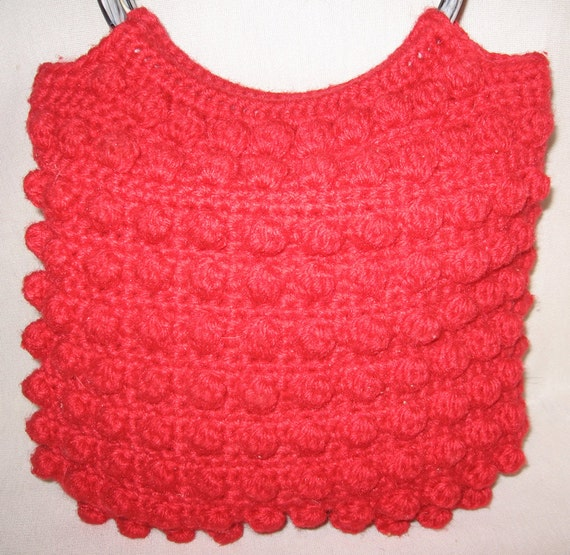 Hippie Vintage Red Vibrant Crochet Tote Purse 1960s