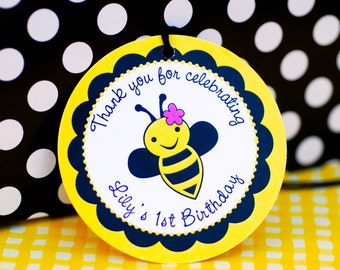 Custom Bumble Bee Party Favor Tags