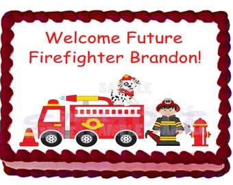 Baby Shower Firefighters Cake Topper - 1/4 sheet Custom Design