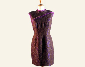 Couture Dress, Violet Lurex Dress, Backless Dress, Japanese Style Sleeves, 1980s Vintage Dress, Cocktail Dress, Dress for Women, Retro