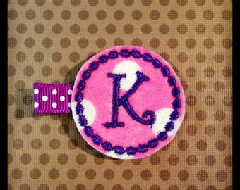 Hot Pink and White Polka Dot with Purple Initial... Felt Hairclips...Monogrammed Hairclips...Baby/Infant Hairbows...Felties