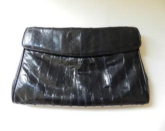 80's EEL SKIN CLUTCH - Midnight Blue / Black  / Ocean Leather / Classic / Evening / Beautiful