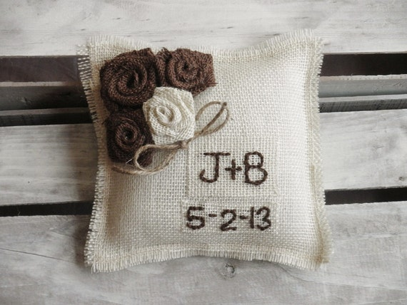 "8"" x 8"" Off White Burlap Ring Bearer Pillow w/ Rosettes -Jute Twine-Custom-Intials & Wedding Date - Rustic/Country/Shabby Chic/Folk/Wedding"