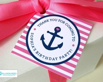 Nautical Birthday Party - Nautical Pink Favor Tags - Nautical Printable - Girl Birthday - Anchor Birthday - Printable Party