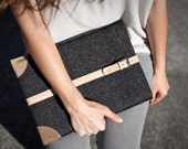 "NEW MacBook 12"" Sleeve / Case / Cover - Vegetable Tanned Italian Leather and Merino Wool Felt, Smokey Grey / Natural"
