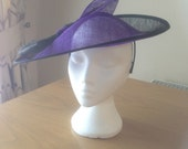 Large Black and Purple Saucer Sinamay Fascinator Formal Hat races Melbourne cup, Glorious Goodwood