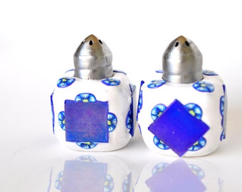 Blue and White Salt 'n Pepper Shakers, Polymer Clay