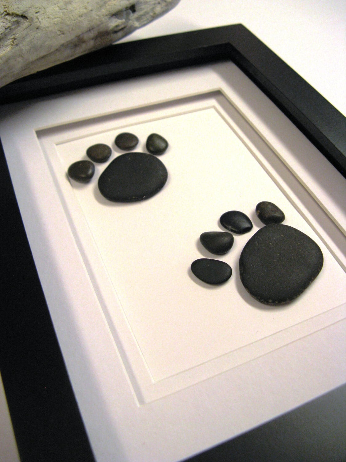 Framed Beach Stone Animal Footprints Stone Art Gift Home