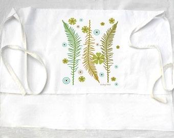 Apron flour sack tea towel easter, garden, ferns, spring flowers