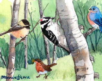 ACEO Limited Edition 2/25 - Forest friends, in watercolor