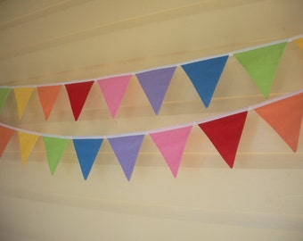 Rainbow Fabric Flag Banner Bunting Pennants - 14 Flags