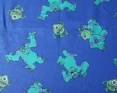 Monsters Inc fabric fat quarter, Disney Pixar movie fabric, Sulley and Mike, purple with green monsters, out of print, character fabric