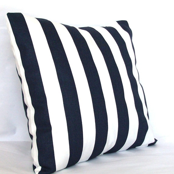 Navy And White Striped Throw Pillow : Navy Blue Throw Pillow Cover Canopy Striped by PureHomeAccents