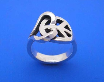 Silver Peace Love Ring , Hand Made Solid Silver