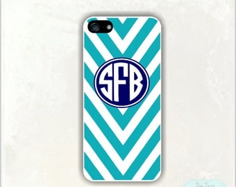 iPhone 5 Case- Ocean Chevron , Personalized iPhone 5 Case, Custom Monogram, iPhone 4 Cover, #236