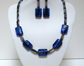 Blue Necklace with Beaded Earrings & Bracelet Has Dichroic Glass Beads Glass Pearls and Iridescent Metal Beads Unique Jewelry Gifts for Her
