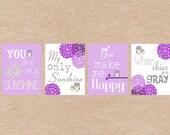 Owl Nursery Art DIY Printable- You Are My Sunshine Wall Art- Purple & Green