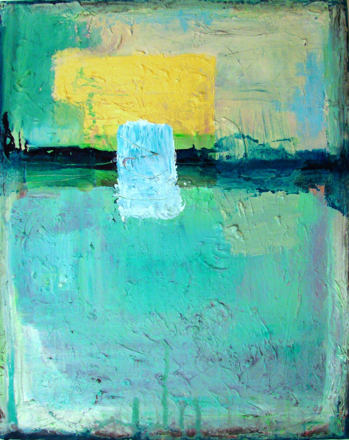 Abstract Painting Acrylic Blue Yellow 16 X 20 By