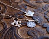 Paris Charm Necklace Silver Charm Necklace Eiffel Tower Necklace Fleur De Lis French Necklace Paris Jewelry French Inspired I Love Paris