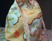 woodland animals handmade cotton drawstring bag/pouch- fully lined