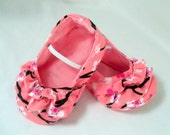 SALE LAST PAIR Pink and White Cherry Blossom Baby Girl Ballerina Ruffle Flats