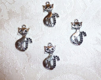 Silver Metal Cat Pendants - Charms 25mm x 13 mm - 4 in Package