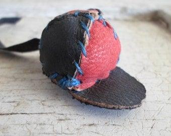 Antique Vintage Miniature Baseball Cap, Leather, Hand Sewn, On Leather Strap, Unique, Excellent Condition