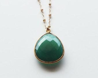 Bezel Set Emerald Green Onyx Gemstone - May Birthstone Teardrop Gold Filled or Sterling Necklace