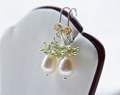 Peridot Pearl Citrine Dangle Cluster Earrings, Freshwater Pearl, Peridot and Citrine Gemstones Sterling Silver Earrings