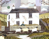 Wordsworth - Dove Cottage - Greeting Card - Lake District  - Grasmere - Writers House - Sheep - English Romantics - Naive Art - Collage