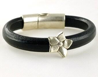 Silver Flower Bracelet, Black Regalize Leather Bracelet, Licorice Leather Bracelet, Magnetic Clasp Bracelet, Feminine Bracelet