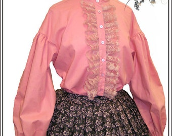 CUSTOM SIZE and COLOR 1800's Civil War Victorian Garibaldi Blouse Pink Mauve White Black 100% cotton