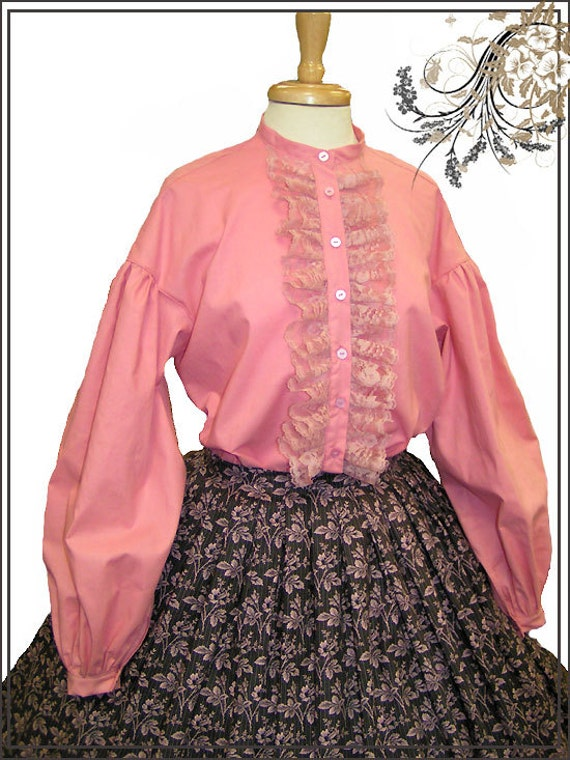 CUSTOM SIZE and COLOR 1800s Civil War Victorian Garibaldi Blouse Pink Mauve White Black 100% cotton $175.00 AT vintagedancer.com