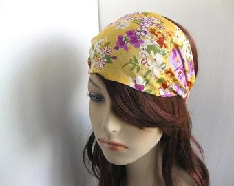 Yellow Floral Bandana Head Wrap, Bandanas for Women's Flower Headband, Dreadband Yoga Headband, Bandana Hair Accessory Womens Gift for Her