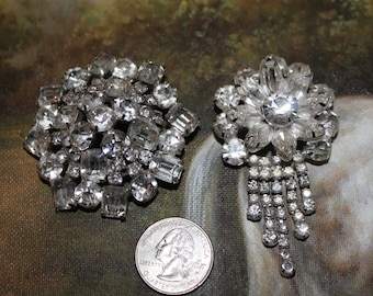 Wedding accessories  lot of 2 Vintage Rhinestone Brooch Pins for bridal veil or dress