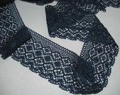 3 yards of4 inches wide crochet like Cotton lace in Indigo blue